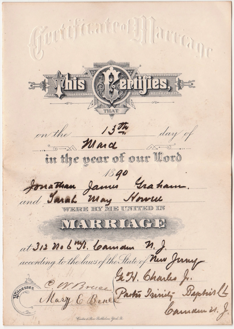 JJ Graham S Howel Marriage Cert 1